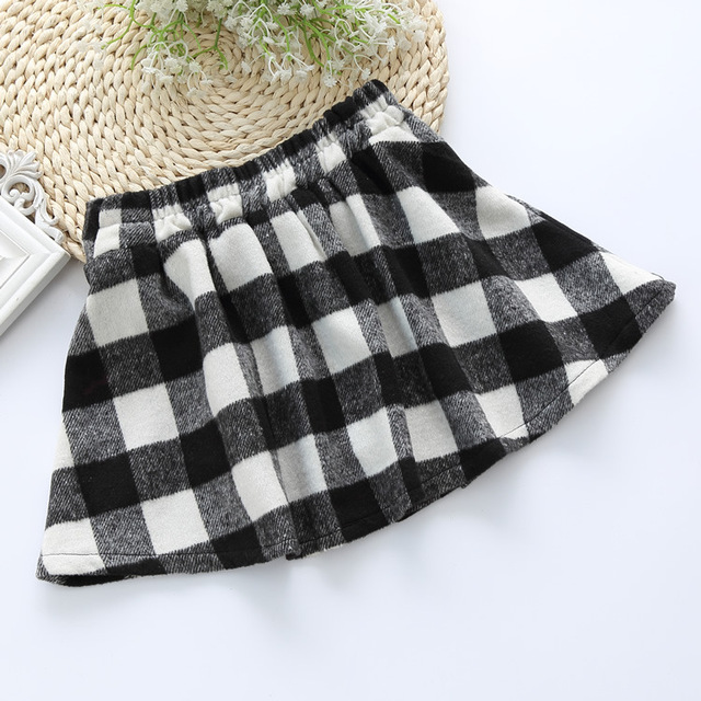 Retail!2015 new Summer style Children British black and white plaid Skirt girls woolen lined short skirts wholesale