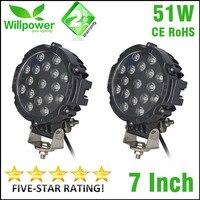 12v 24v Round Spot Beam 7 Inch 51w Led Driving Light Work Light 4x4 Offroad For