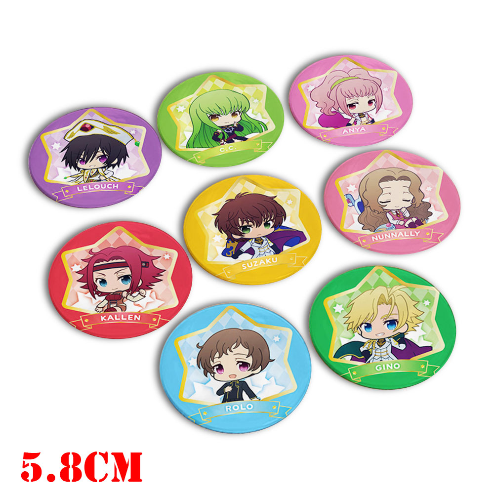 Giancomics 8pcs Hot Japanese Anime Code Geass Figure Pins Set Plastic Badges Brooch Chest Button Cosplay Costume Collection Gift