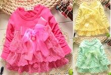 Весна Новые детские одежда Длинные рукава платье Обувь для девочек детские бантом кружева пряжи мини-платье Обувь для девочек милое платье принцессы