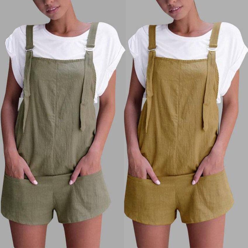desire #50 Women Elastic Waist Dungarees Linen Cotton Pockets Rompers Playsuit Shorts Pants