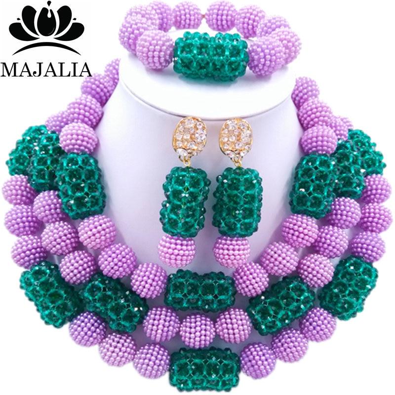 все цены на Majalia Fashion Charming Nigerian Wedding African Jewelry Set Purple and Army green Crystal Necklace Bride Jewelry Sets 3SZ060 онлайн