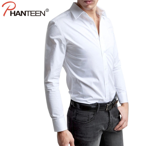 Phanteen High Quality Man White Shirts Slim Fit Business Wedding Party Long Sleeve Autumn Professional