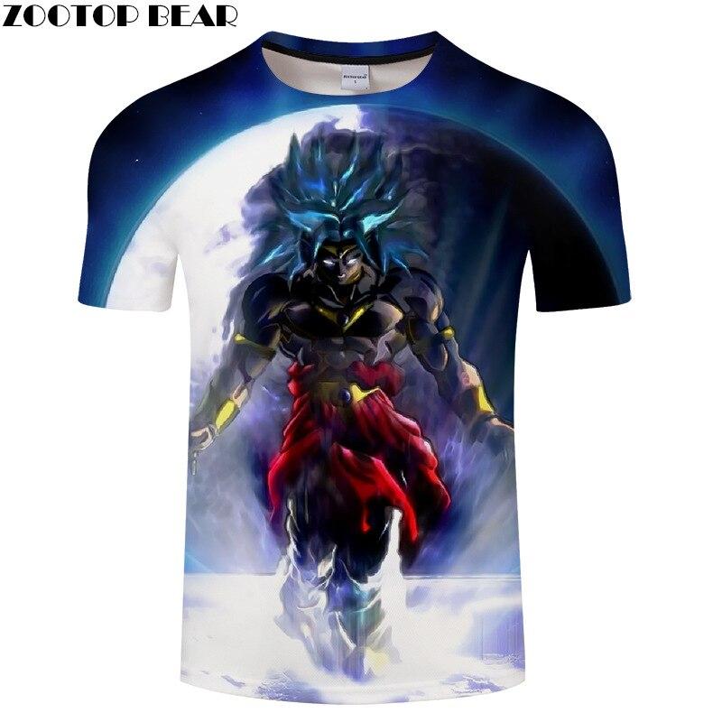 Summer short-sleeved dragon ball series moon 3d printed T-shirt.