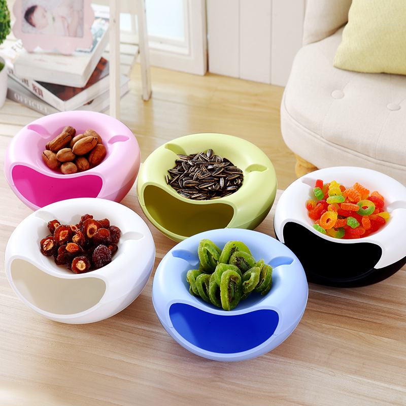 Image 3 - Creative Shape  Plastic Fruit Dish Snacks Nut Melon Seeds Bowl Double Layer Plastic Candy Plate Peels With Phone Holder For TV-in Storage Boxes & Bins from Home & Garden