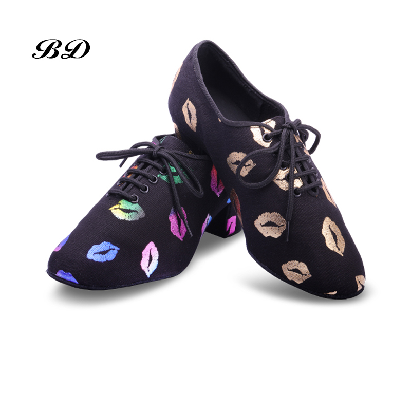 Sneakers Latin Dance Shoes Women Genuine BD T1 Teacher Shoes Black  Heel 4.5cm Male Female Genuine Red Lips Oxford Cloth BAGS