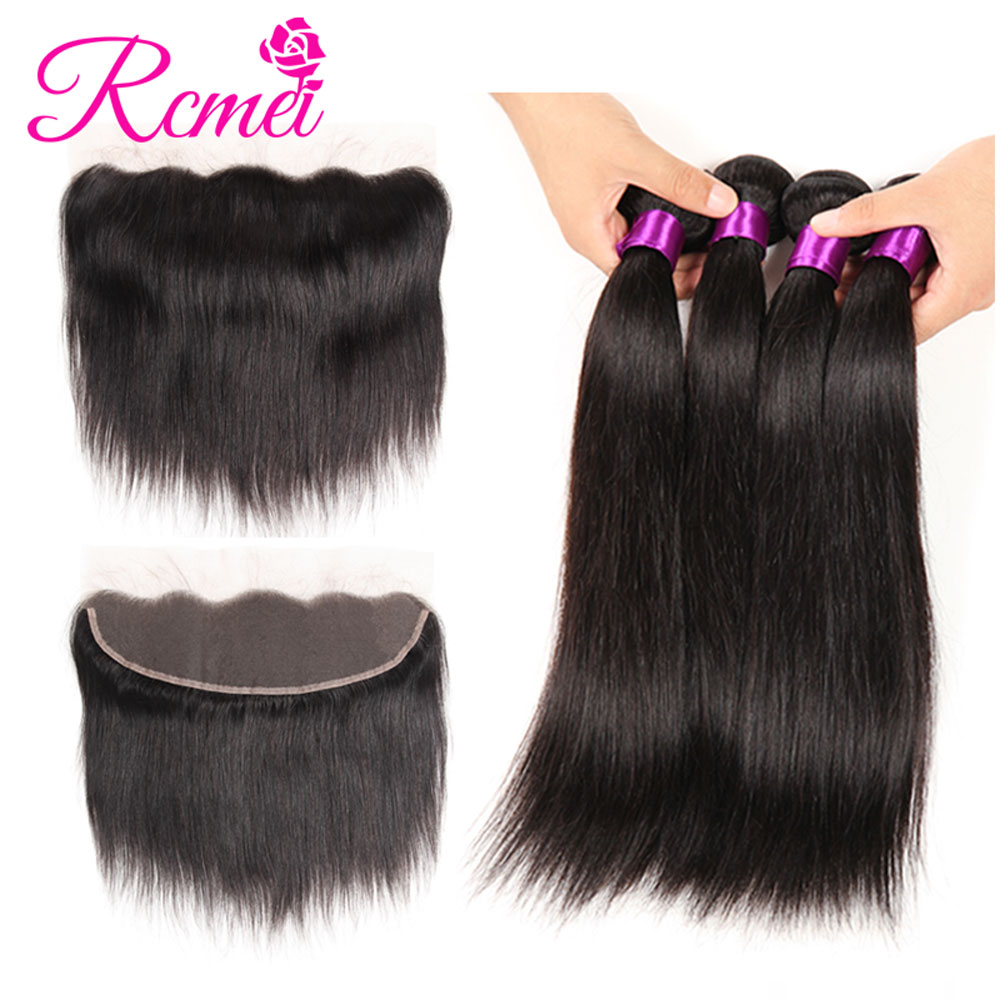 Rcmei Hair 13x4 Lace Frontal Closure With Bundles Brazilian Straigth Hair Human Hair 4 Bundles With Lace Front Closure Non-Remy