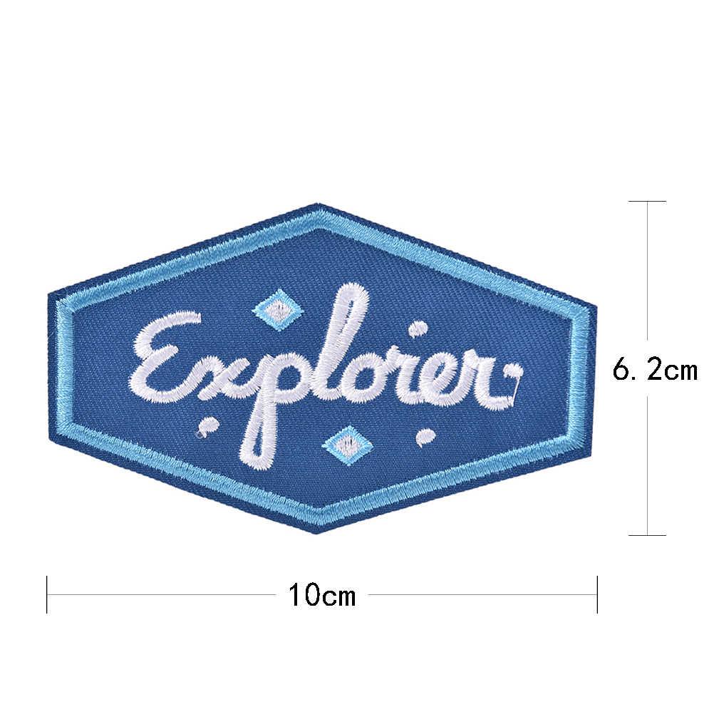 1 個アイアン縫製アップリケオートバイバイカーパッチステッカーバッジエクスプローラ刺繍パッチ衣料用ジャケットジーンズバッグ