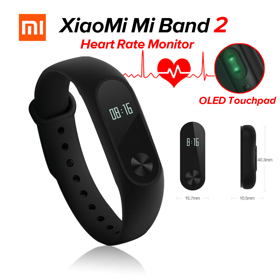 Original Xiaomi Mi Band 2 Miband 2 Fitness Tracker Heart Rate Monitor OLED Display Touchpad Bluetooth 4.0 For Android IOS