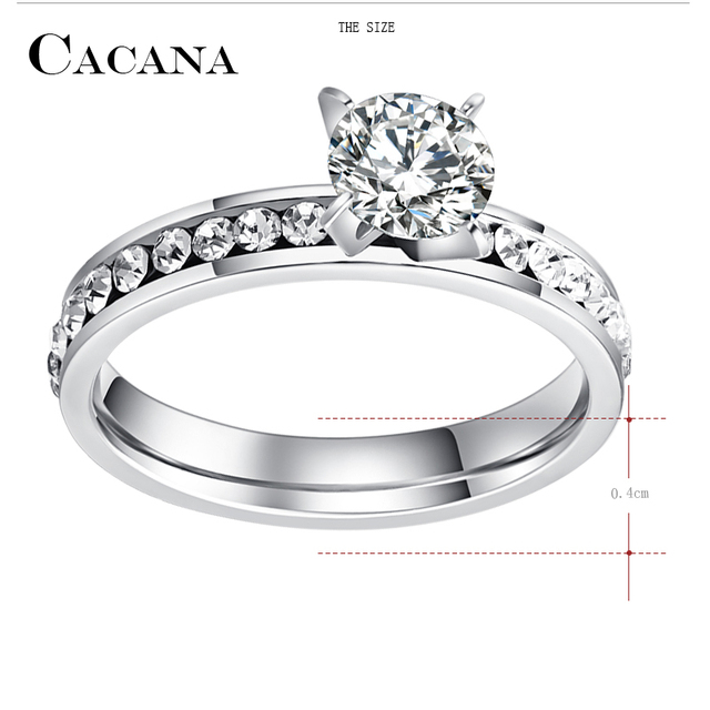 CACANA Titanium Stainless Steel Rings For Women Circle CZ Fashion Jewelry Wholesale NO.R174 5