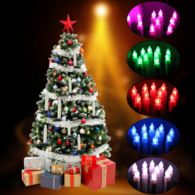 10pcs colorful led lights flameless electronic candles remote control lamp birthday wedding party christmas tree decoration