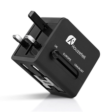 Houzetek Travel Adapter, International Universal Power Adapter with Dual USB Worldwide Wall Charger for UK EU AU