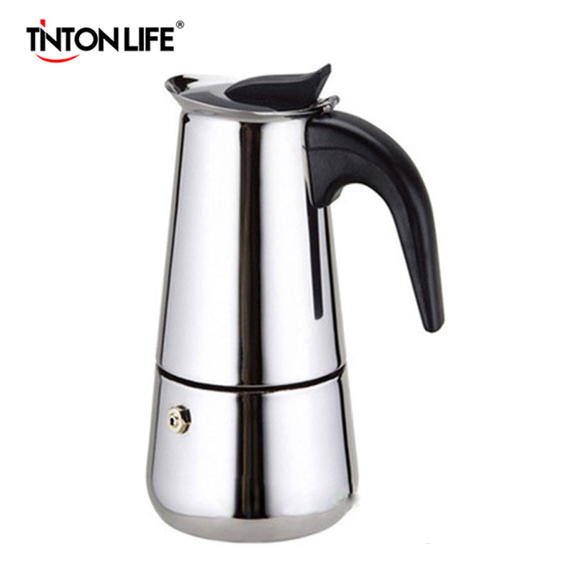 TINTON LIFE Top Quality 2/4/6/9 Cups Stainless Steel Moka Espre sso Latte Percolator Stove Top Coffee Maker Pot стоимость