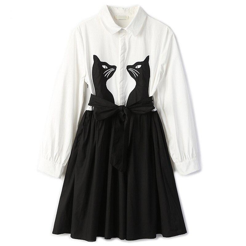 Fashion Dresses Women Elegant Casual Embroidered Cat Long Sleeve Dress Female
