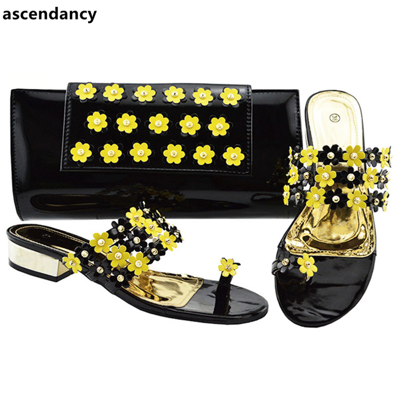 Ladies Italian Shoes and Bag Set Decorated with Rhinestone Nigerian Women Wedding Shoes and Bag Set Ladies Sandals with Heels