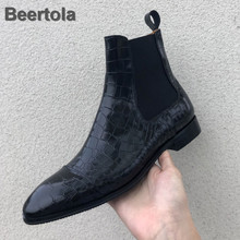 Genuine Leather Boots Women Black Low Heel Winter Shoes Boots Woman Square Toe Chelsea Boots Alligator Pattern New Ankle Boots 2018 new women chelsea boots winter warm martin boots genuine real leather women s ankle boots shoes short boots woman 006