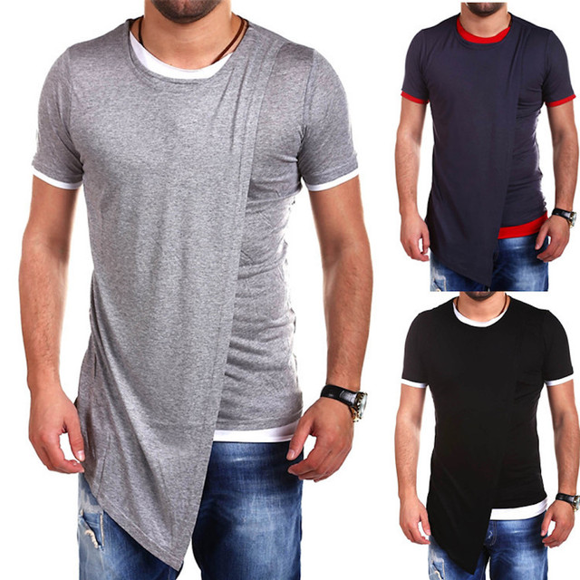 2018 New Men s Hipster Hip Hop Extended Tees Short Sleeve Longline T shirts  Novelty Urban Clothing Fashion Streetwear 09f6f5cc19b