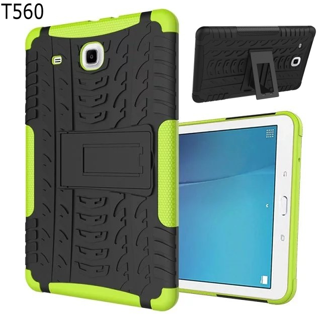 Heavy Duty armor stand Protective Double Color Shock Proof Cover case for Samsung Galaxy Tab E 9.6 T560 SM-T560 T561 with pen enkay butterfly pattern protective case w stand for samsung galaxy tab 3 lite t110 multicolor