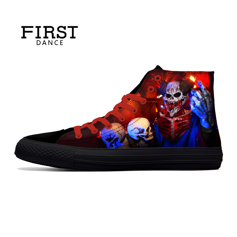 FIRST DANCE Punk Nice Skull Men Black Shoes Classic Canvas Men Casual Shoes Fashion High Top Shoes Men Printed Canvas Sneakers
