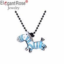 ElegantRose Popular Cute Animal Zebra Strand Pendant Necklace Women Blue Gray Crystal Necklaces & Pendants For Lady NR3680