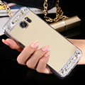 For Galaxy S7 S7 Edge Luxury Mirror Cover Fashion Crystal Diamond Rhinestone Case For Samsung Galaxy A3 A5 A7 2016 Phone Cover