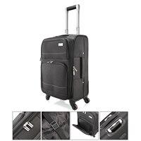 От DE 20 Оксфорд черный прокатки Чемодан Spinner чемодан на колесах путешествия Бизнес тележка занят доска интернат Cabin Чемодан