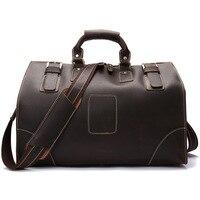 YISHEN Винтаж Crazy Horse Сумки из натуральной кожи для путешествий большой емкости мужские дорожные сумки с верхней ручкой сумки через плечо LS0186
