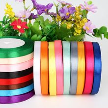 25Yard 10mm Silk Satin Ribbon Wedding Party Decoration Invitation Card Gift Wrapping Decoration Christams Ribbon(China)