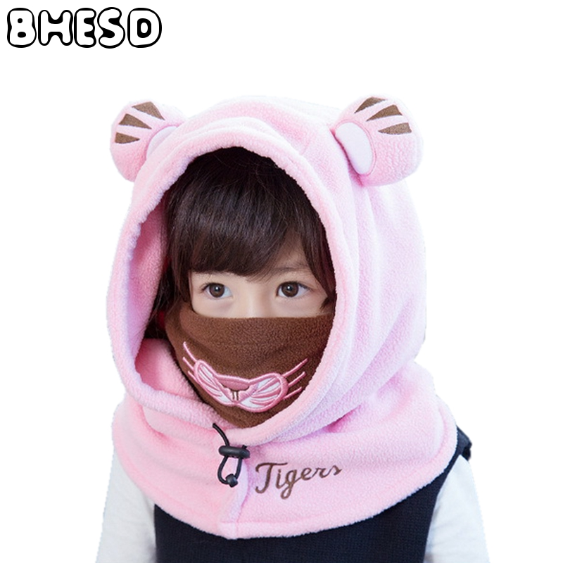 BHESD Children Winter Face Ski Mask Hat Toddler Balaclava Hats Girls Polyester Fleece Skullies Beanies Boys Neck Warmer JY-001 face skullies beanies mask motorcycle fleece winter warm beanies hats colorful neck warmer