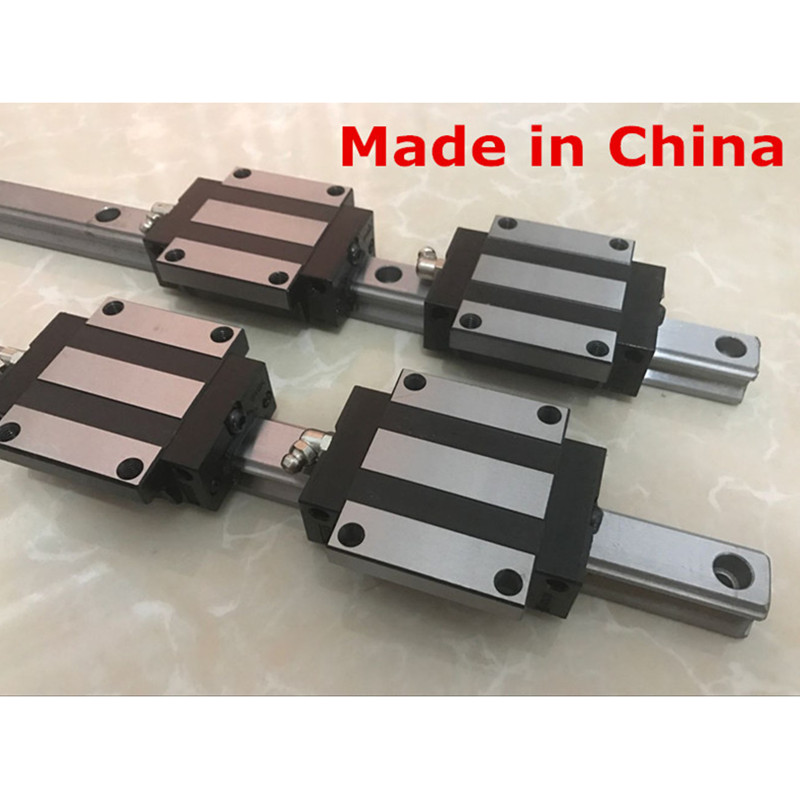 2pcs linear guide rail HGR15 1100 1200 1500 mm with 4 pcs of linear block carriage  HGW15CA CNC parts2pcs linear guide rail HGR15 1100 1200 1500 mm with 4 pcs of linear block carriage  HGW15CA CNC parts