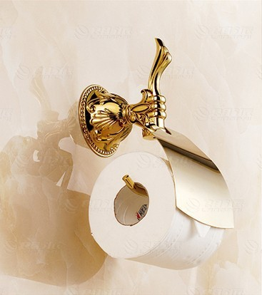 Luxury gold toilet paper holder in the bathroom tissue dispenser with lib European style carved embossed