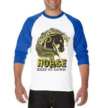9e574e7a Men T Shirt Horse Printing O-Neck Three Quarter Raglan Sleeve Cotton Mens T-