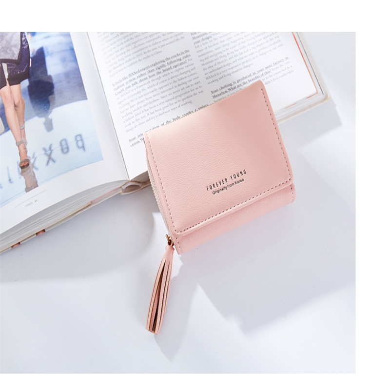PU Female Wallet Tassel Pendant Design Small Clutch Wallets For Women Coin Purses Card Holders Invoice Pocket hasp purse