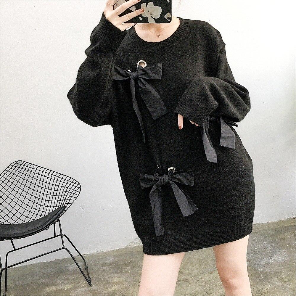 Style coréen femmes chandails d'hiver noeud papillon noir pull longue section féminine lâche grande taille col rond tricoté pull