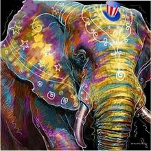 5D Diy Diamond Painting Elephant 50x50 Embroidery Diamond Painting Cross Stitch Square Colored Elephant Rhinestone Mosaic KJ235 недорого