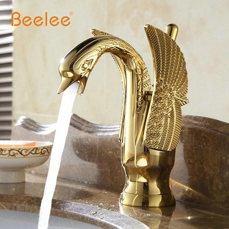 Online Shop Gold color Swan design Hot &Cold Brass Bathroom sink ...