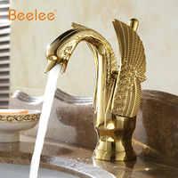 Gold color Swan design Hot &Cold Brass Bathroom sink Mixer Tap.Single Swan Handle Wash basin faucet Polished swan faucet BL3049G