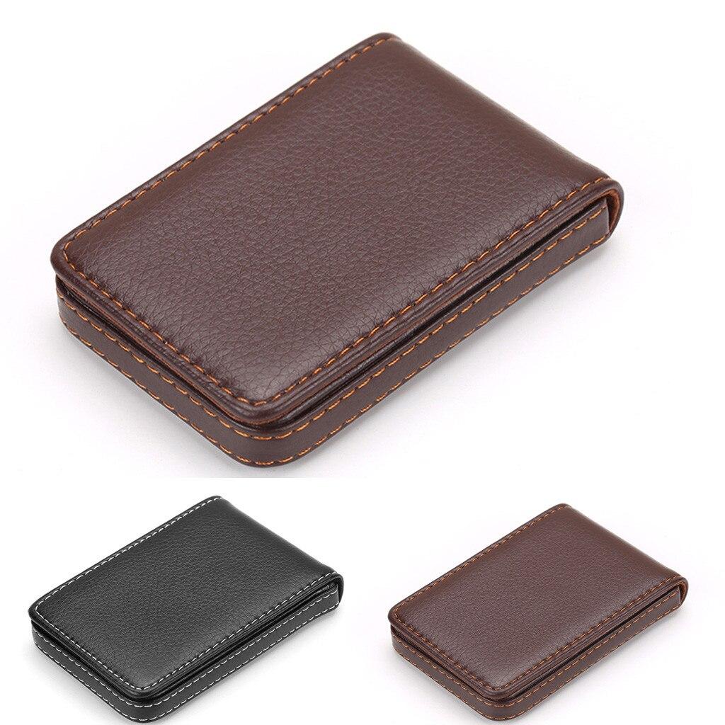 Leather Organizer Business RFID Credit Card Holder Cowhide Minimalist Women Travel Card Bag Men Small Wallet 5H