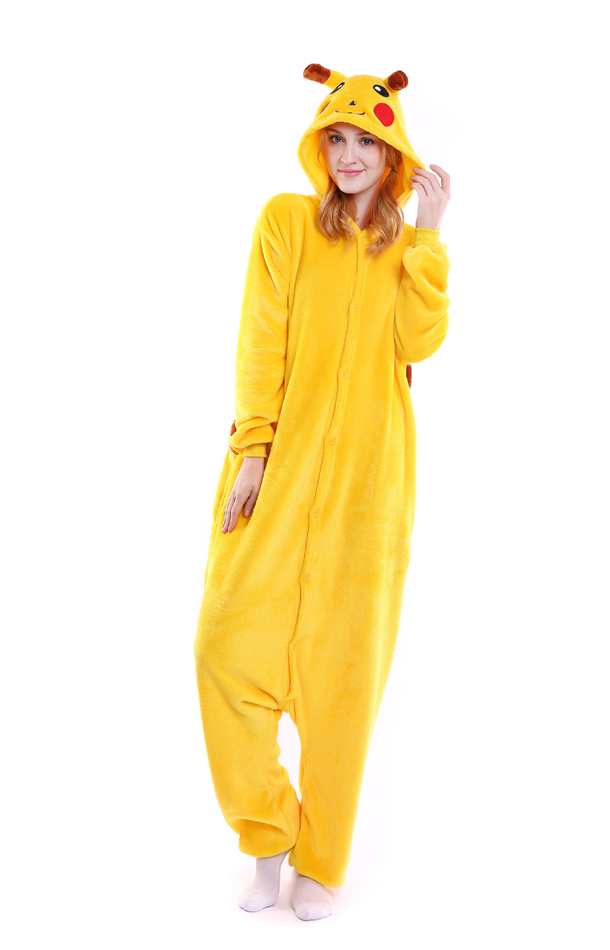 ZOGAA Jumpsuits for Women 2018 Homewear Cartoon Pikachu One Piece Pijama Hooded Sleepwear Plush Animal Pajamas Women Clothing
