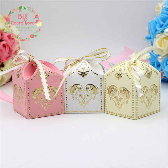Big Heart Love 25pcs Candy Box Wedding Gift Decoration Shape Favors And Gifts