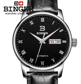 ФОТО Binger Fashion Wristwatches Watches Automatic date day Automatic leather Roman black watch hot sale 2017 High quality wristwatch