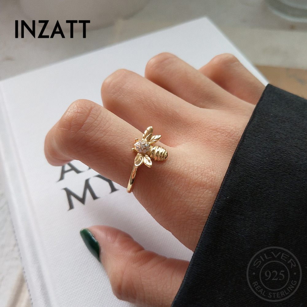 INZATT Pure 925 Sterling Silver Cute Zircon Bee Exquisite Animal Openwork Ring Personality Fine Jewelry For Bague femme mode