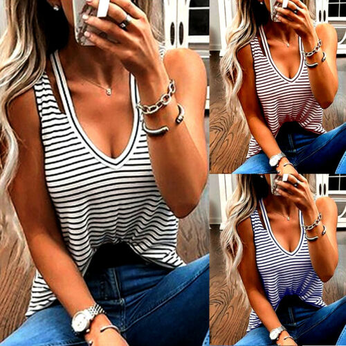 Summer Women's Ladies Sexy V-neck Basic Vest   Top   Fashion Slim Summer Sleeveless Striped Vest   Tank     Tops