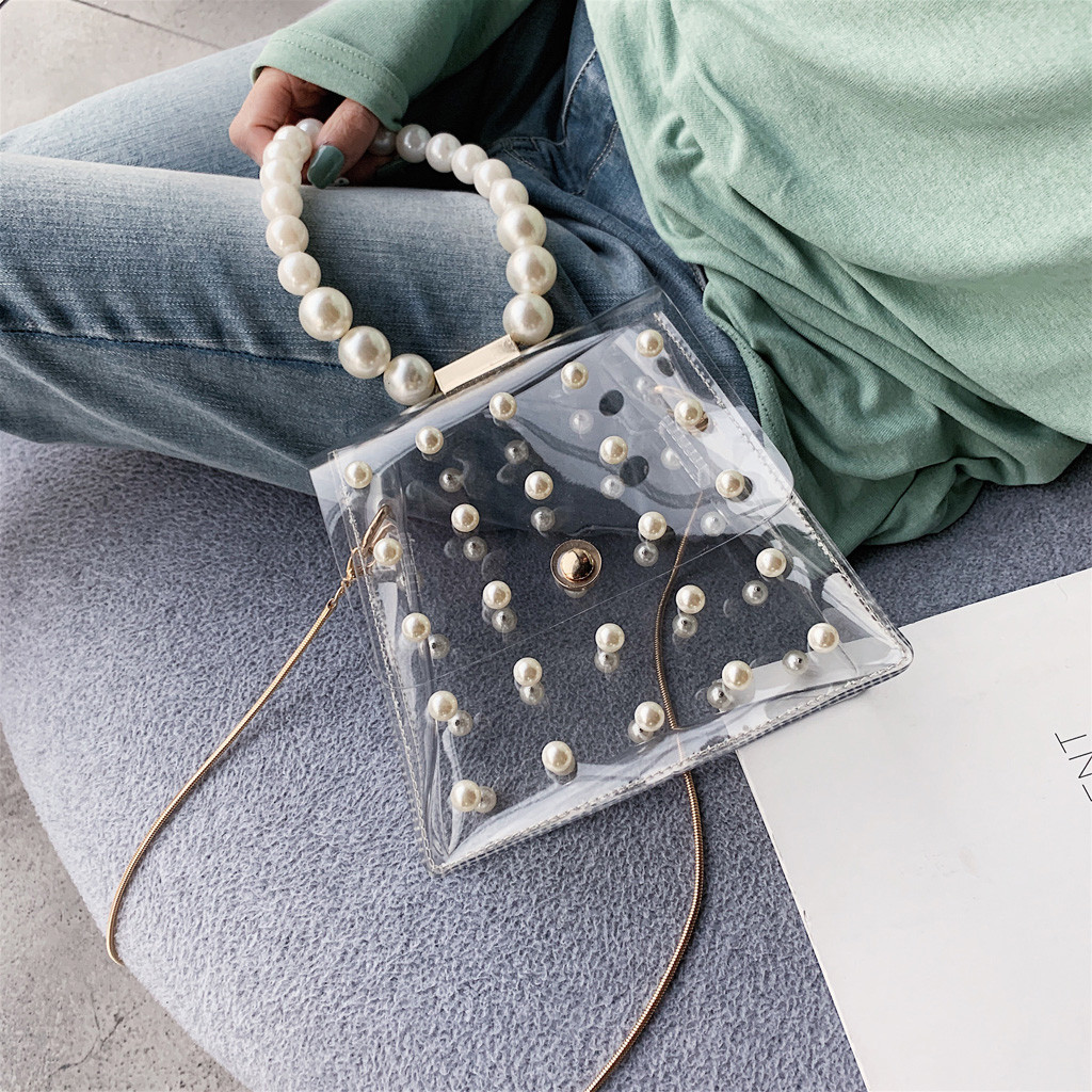 Fashion Girl Pearl Crossbody Bags Women Cute Waterproof Messenger Package Lady Beaded Shoulder Flap Transparent Women Bag
