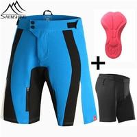 SAENSHING Cycling Shorts+Cube Bike Underwear Gel Pad Downhill Mtb Shorts Sport Short Vtt Mountain Bike shorts bermuda ciclismo