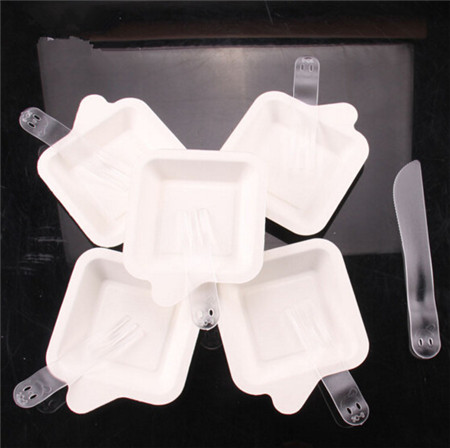 11pcs/set Disposable Ice Cream Pudding Dessert Cake SquarePaper Dish & PP fork ,knife Tableware 4N1257