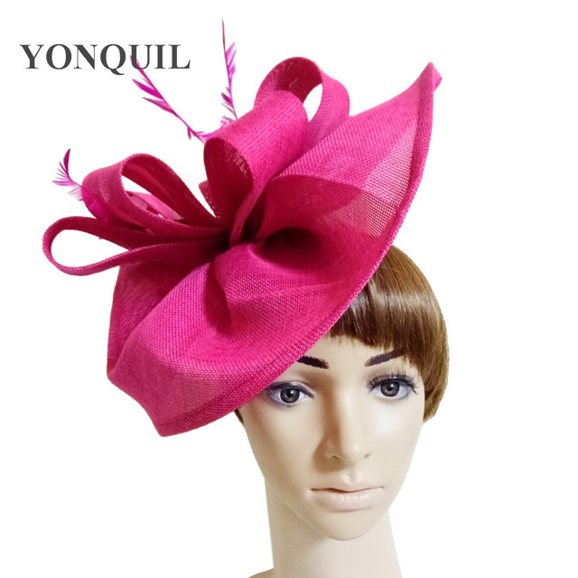 2018 Hot pink Vintage big derby loop fascinators hat red ladies event  feather headwear race hair accessories fedora pillbox hats 4cb95860ba3
