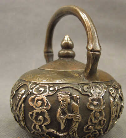 002968 Folk Cina Perunggu Tembaga BaXianGuoHai 8 Abadi Dewa Patung Teko Anggur Pot
