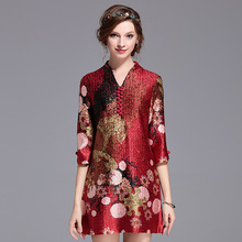 15 buttons middle-aged and old fashion wrinkles plus women's festive dress fold dresses free shipping