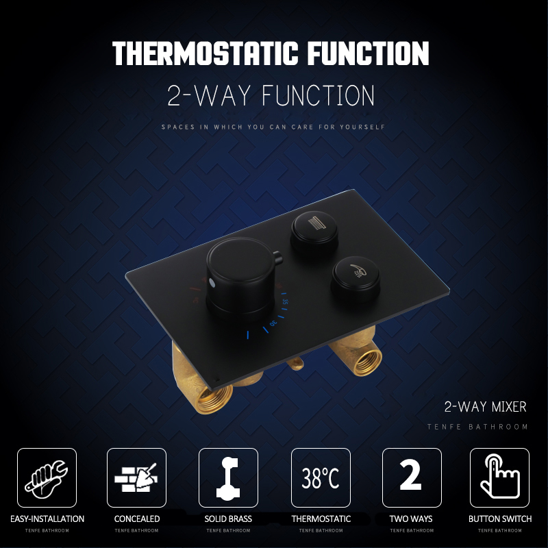 Back To Search Resultshome Improvement Quyanre Matte Black Chrome Thermostatic Shower Mixer Valve Shower Panel 2-way Buttons Control Switch Thermostatic Shower Faucet Bathroom Fixtures